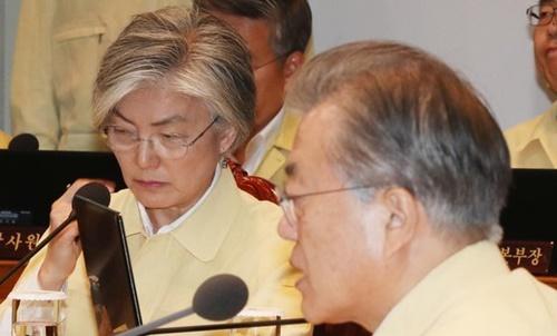文在寅大統領が29日午前、青瓦台与民官映像会議室で開かれた乙支太極国務会議を主宰している。左は康京和外交部長官。(写真=青瓦台写真記者団)