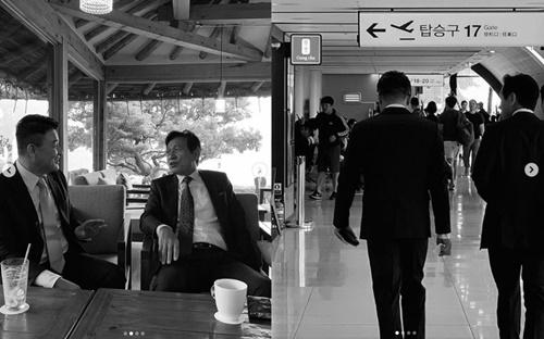 俳優パク・ジュンフン(左)とアン・ソンギ