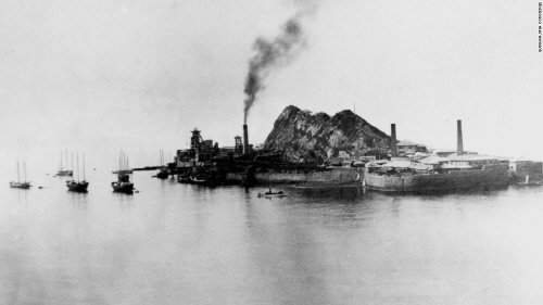第2次世界大戦当時の軍艦島の様子。(写真=中央フォト)