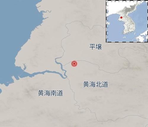 22~23日、北朝鮮で発生した地震の地点。黄海北道松林から北東に10キロ離れた地点だ。(資料=韓国気象庁)