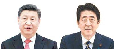 習近平中国国家主席(左)と安倍晋三氏(右)