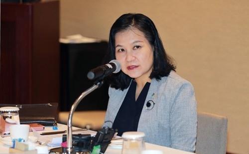 韓国産業通商資源部の兪明希通商交渉本部長が6月、グランドハイアットソウルで開かれた「駐韓米国商工会議所 招請昼食懇談会」で挨拶の言葉を述べている。(写真提供=産業通商資源部)