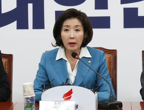 自由韓国党の羅卿ウォン(ナ・ギョンウォン)院内代表が10日午前、国会で開かれた院内代表・重鎮議員連席会議で発言している。