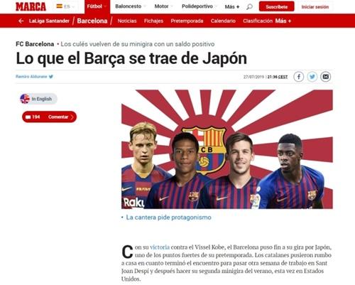 28日、スペインメディアのマルカがバルセロナの日本遠征親善試合を伝え、旭日旗を背景に使用した。[写真 徐敬徳教授]