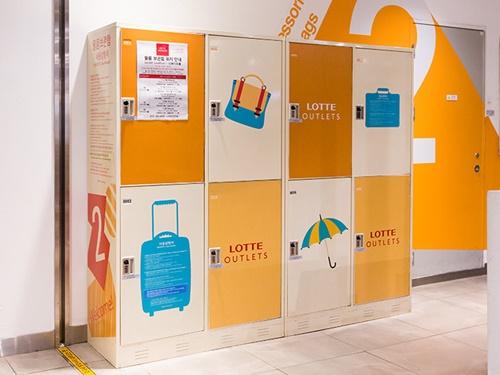 同じくソウル駅直結の「ロッテアウトレット ソウル駅店」には、無料で利用できる大型コインロッカーがあります。