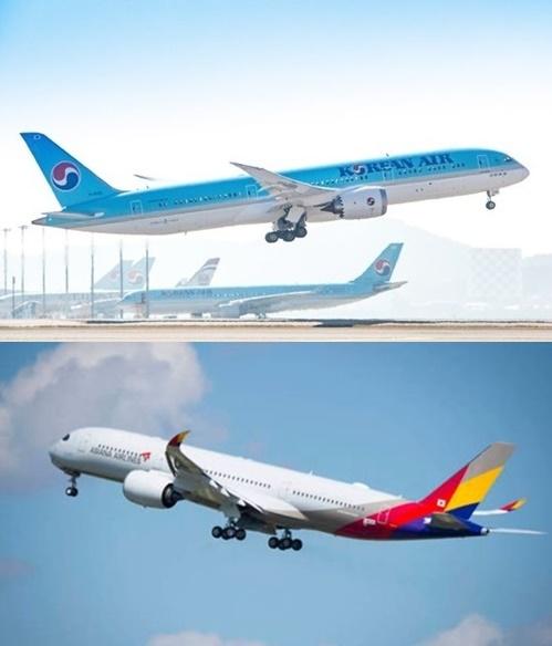 大韓航空旅客機(写真上)、アシアナ航空旅客機