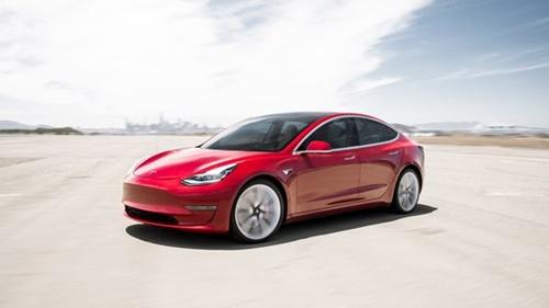テスラコリアが韓国で発売した普及型モデルの「モデル3」。既存車両に比べ安いテスラのボリュームモデルだ。今後上海工場で生産する予定だ。[写真 テスラコリア]