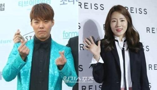 歌手カンナム(左)と元女子スピードスケート韓国国家代表の李相花(右)