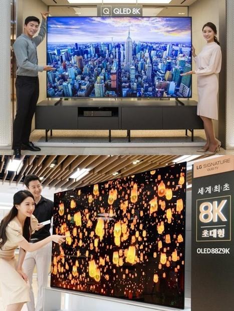 サムスン電子のモデルがQLED 8Kテレビを公開している。[写真上 サムスン電子]、LGエレクトロニクスのモデルがOLED8Kテレビを紹介している。[写真下 LGエレクトロニクス]