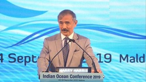 4日、インド洋カンファレンスで演説するハリス駐韓米国大使 [在駐韓米大使館 ツイッター]