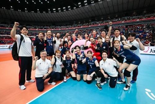 日本で開催されている2019女子バレーボールW杯に出場中の韓国代表。[写真 国際バレーボール連盟]