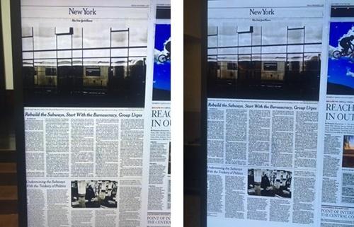 サムスン電子が用意したQLED 8Kテレビに映し出した新聞撮影の見本(左)とLGの有機EL8Kテレビに映し出された新聞撮影の見本(右)。キム・ヨンミン記者