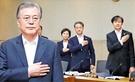文在寅(ムン・ジェイン)大統領がチョ・グク法務部長官任命の翌日である10日、ソウル下月谷洞(ハウォルゴクドン)の韓国科学技術研究院(KIST)で開かれた現場国務会議で国旗に敬礼している。