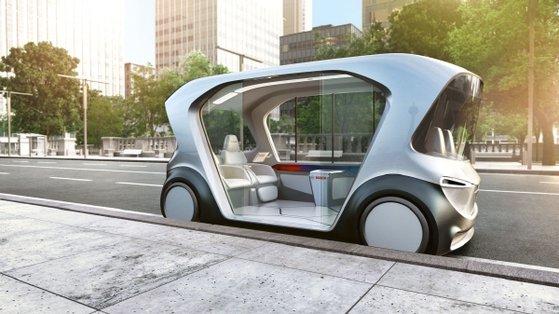 コンシューマー・エレクトロニクス・ショー2019でドイツ自動車部品メーカー「ボッシュ」が公開した自動運転電気シャトルバス。ボッシュは9年連続で自動車部品メーカー世界1位(売上額基準)を記録した。[写真 ボッシュ]