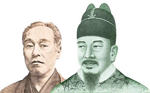 1万円札に描かれた日本の近代思想家の福沢諭吉と1万ウォン札に描かれた世宗大王。韓日の消費者物価上昇率が逆転しながら、低物価現象が続くことが懸念されている。