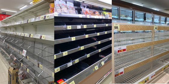 都内にあるスーパーの陳列棚から商品がなくなっている。左側からラーメン、肉、パンコーナーの様子。[読者 パク・ヘジョン]