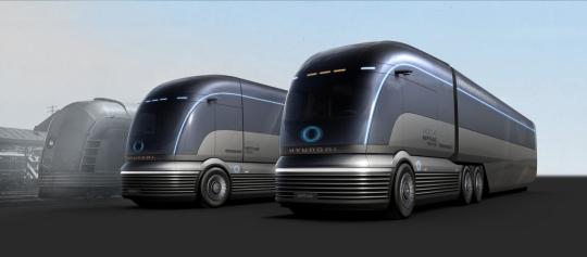 米アトランタ・ジョージア・ワールド・コングレスセンターで開かれた「2019北米商用車ショー」で現代車が発表した水素専用大型トラック・コンセプトカー「HDC-6 NEPTUNE」[写真 現代車提供]