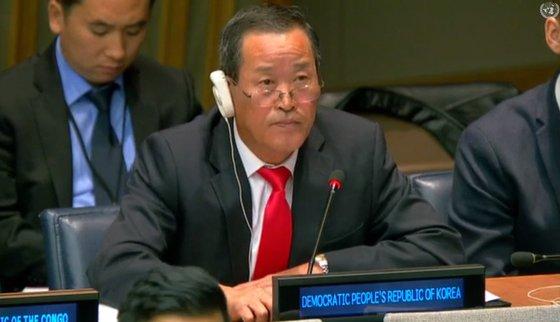 北朝鮮の金星国連代表部大使。[中央フォト]