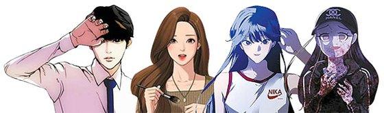 先月30日、タイのLINEウェブトゥーンのクイズ番組に参加した韓国の人気作家4人の作品の主人公。左からネイバーウェブトゥーンの『外見至上主義(作家:パク・テジュン)』『女神降臨(Yaongyi)」『下の階には澪がいる(ミン・ソンア)』『殺スタグラム(RYOUNG)』。[写真 ネイバーウェブトゥーン]