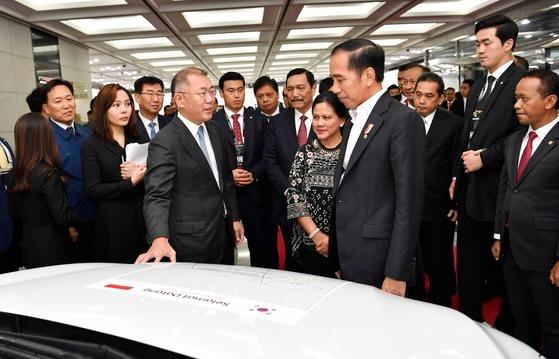 先月26日、鄭義宣(チョン・ウィソン)現代車グループ首席副会長が蔚山(ウルサン)工場を訪問したインドネシアのジョコ・ウィドド大統領と対話している。現代車はインドネシアに年産25万台規模の自動車工場を建設する予定。[写真 現代自動車グループ]