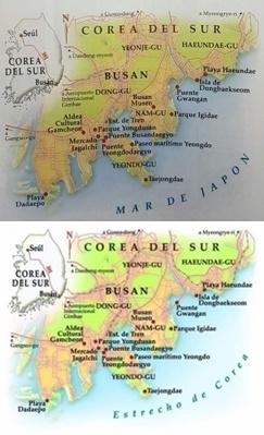 地図中の「日本海」(写真上)が「大韓海峡」に変わったアルゼンチンメディア「ウィークエンド」の記事[駐アルゼンチン韓国文化院提供]