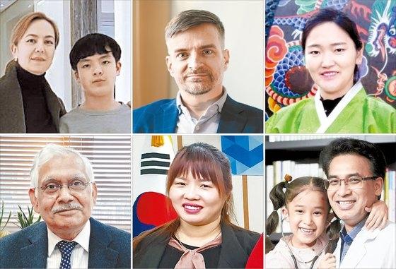 110カ国から帰化した「新しい韓国人」たちの顔と職業は多様だ。写真左上から時計回りにウミダさん(ウズベキスタン、医療コーディネーター)と息子、デビッド・リントンさん(米国、弁護士)、パク・アルムさん(モンゴル、多文化講師)、チョン・ジェハンさん(ネパール、医師)と娘、ト・ウンアさん(ベトナム、相談チーム長)、ロイ・アロック・クマルさん(インド、教授)。