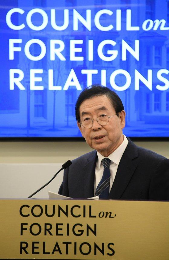 米ワシントンDCを訪問した朴元淳市長が13日午後に外交安保分野のシンクタンクである外交問題評議会(CFR)招請座談会で「平和に向けたソウルの前進」を主題に演説した。[写真 ソウル市]