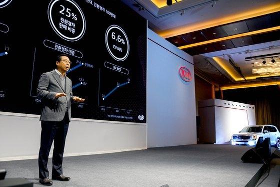 朴旱雨(パク・ハンウ)起亜自動車社長が14日午前、汝矣島コンラッドソウルホテルで開催された「CEOインベスターデー」で中長期戦略「プランS」と「2025年投資および財務戦略」を発表している。[写真 起亜自動車]