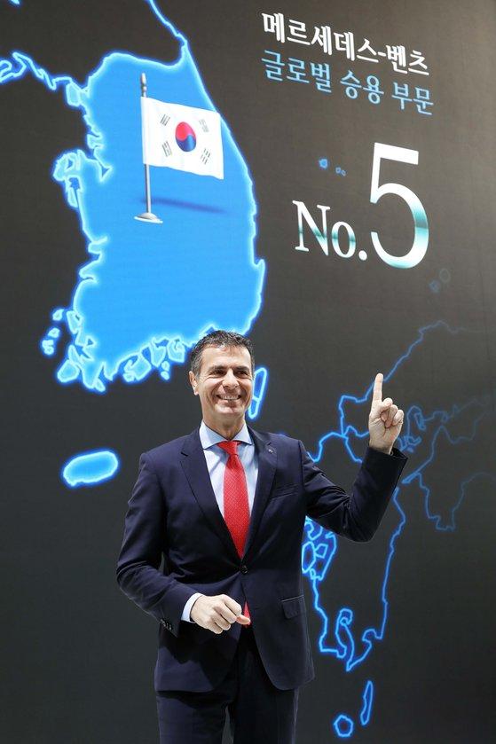 メルセデスベンツコリアのシラキス代表が14日、ソウル新西洞EQフューチャー展示館で開かれた記者懇談会で昨年の業績について説明している。[写真 メルセデスベンツコリア]