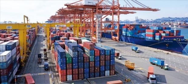 14日、釜山新港埠頭にコンテナが幾重にも積まれている。新型コロナウイルスによる肺炎拡散で中国に向かうコンテナ船が減り釜山新港のコンテナ受け入れ能力は飽和状態に達した。チェ・マンス記者