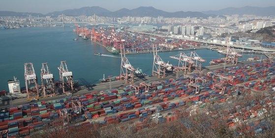 今月9日、釜山(プサン)の埠頭に輸出を待つコンテナが積まれている。ソン・ボングン記者