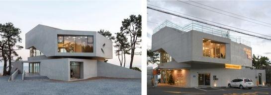 釜山機張のカフェ「Waveon」(左側)と蔚山のカフェ。[写真 IDMM建築会社事務所]