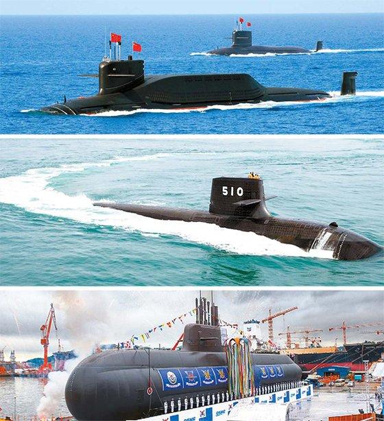 上からSLBMを搭載した中国の晋級原子力潜水艦、非原子力潜水艦では世界最大規模の日本のそうりゅう型潜水艦、3000トン級の韓国の安昌浩(アン・ チャンホ)。[中央フォト]