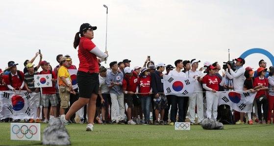 2016年リオデジャネイロ五輪女子ゴルフの金メダリスト朴仁妃(パク・インビ)は今年の東京五輪で2大会連続のメダル獲得を狙う。出場権を獲得するために今季開催されたLPGAツアー4大会にすべて出場した。[中央フォト]