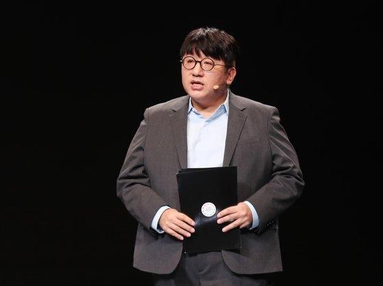 Big Hitエンターテインメントのパン・シヒョク代表。Big Hitは昨年営業利益987億ウォンを記録した。パン代表が昨年11月、2019韓-ASEAN特別首脳会議「文化革新フォーラム」に参加して発表する姿。[写真 2019韓-ASEAN特別首脳会議]