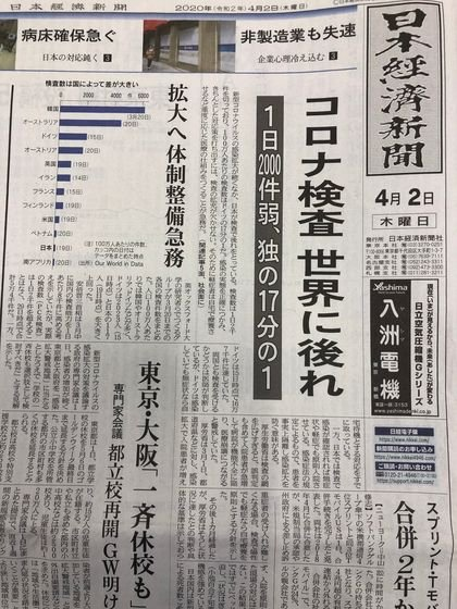 政治的に中立的な日本経済新聞が2日付の1面トップ記事で日本政府のコロナ検査態勢を正面から批判した。 ソ・スンウク特派員