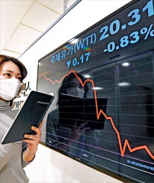 ソウルの金融情報提供会社の職員が2日、国際原油価格グラフを見ている。 ホ・ムンチャン記者