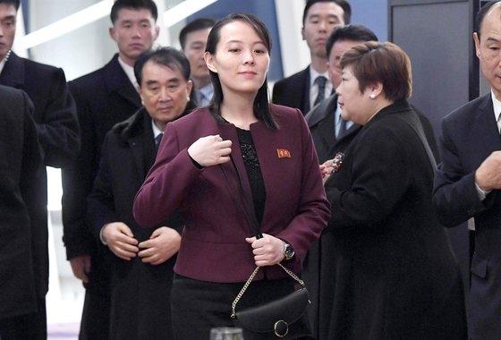 平昌(ピョンチャン)冬季オリンピックを契機に訪南した北朝鮮の金正恩国務委員長の妹・金与正労働党中央委第1副部長。[写真 共同取材団]