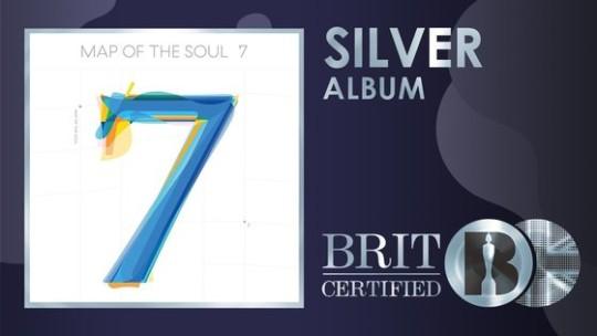 英国レコード産業協会のシルバー認定を受けた防弾少年団(BTS)のアルバム『MAP OF THE SOUL:7』。