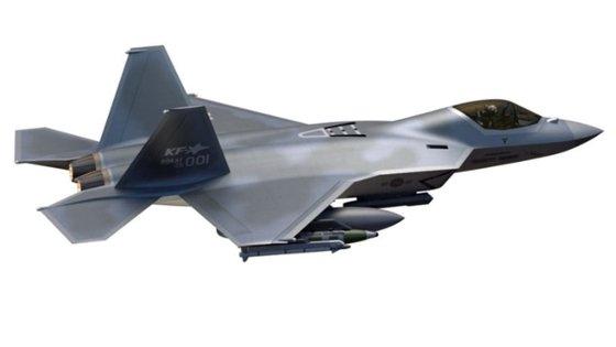 韓国型次世代戦闘機(KFX)のイメージ。2026年までにシステム開発を終えた後、2028年に追加で武装試験を完成させるのが目標。[写真 韓国航空宇宙産業]