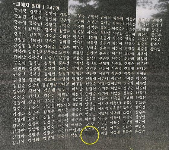 12日に訪れた南山「記憶の場」。造成時には慰安婦被害者247人の名前が刻まれていたが、今は246人だけが残されている。碑に名前を刻まれていることを知らなかったAさんが後で知って自分の名前を自ら削ったためだ。黄色い円がAさんの名前が掘られていた箇所だ。ユ・ジヘ記者