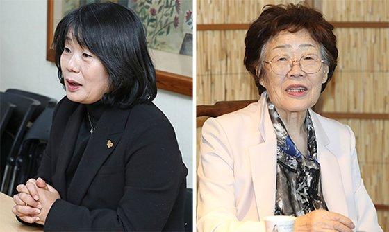 尹美香氏(左)と李容洙さん(右)