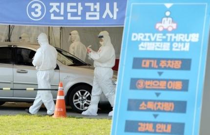 19日午後、大田儒城区保健所ドライブスルー選別診療所で、医療スタッフが保護装具を着用して市民の感染検査を実施している。 キム・ソンテ記者