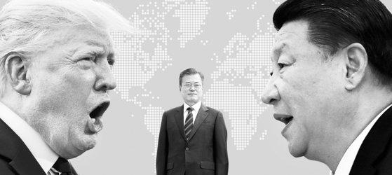 トランプ大統領、文在寅(ムン・ジェイン)大統領、習近平主席