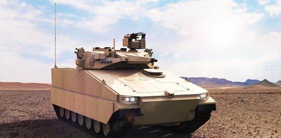 オーストラリア陸軍装甲車事業で競争中のハンファディフェンスのレッドバック装甲車。[写真 ハンファディフェンス]