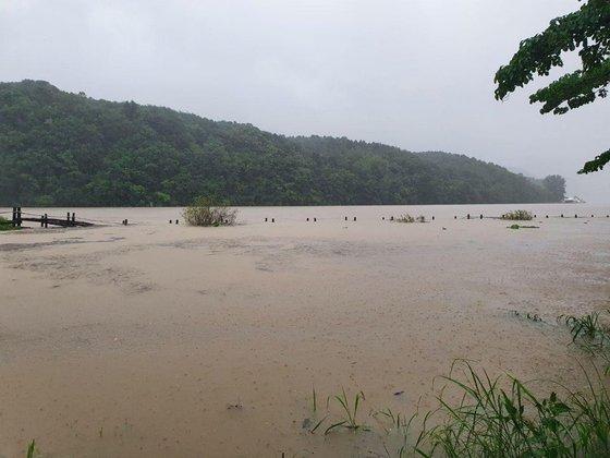 韓国の北漢江の水位が高まり南怡島が浸水被害を受けた。川沿いの散策路が完全に浸水した様子。[写真 南怡島]