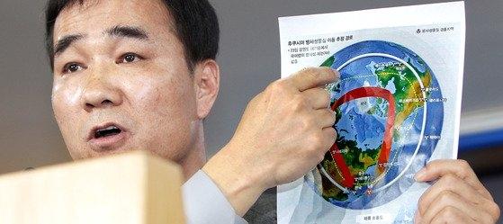 気象庁報道官を務めたキム・スンベ韓国気象産業協会本部長。[中央フォト]