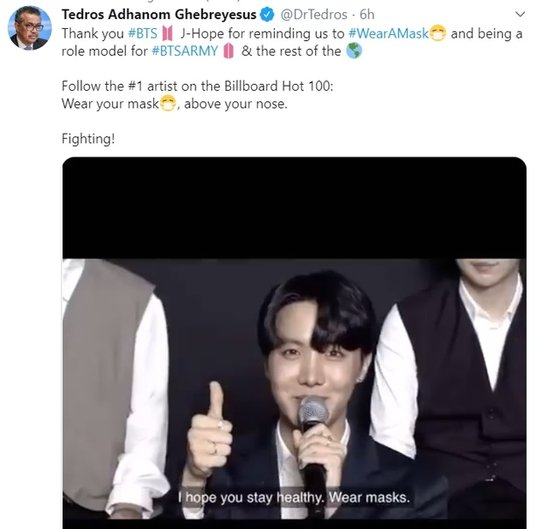 WHOのテドロス事務局長のツイート。[ツイッター キャプチャー]