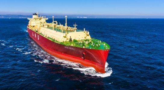 現代重工業が建造したLNG運搬船の試験運航の様子。[写真 現代重工業]