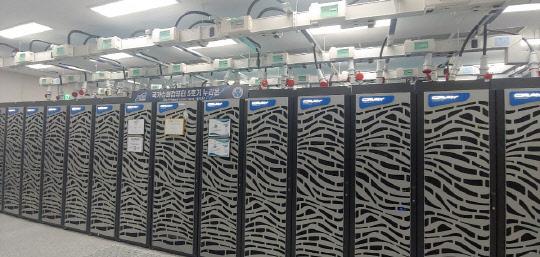 大田のKISTIにあるスーパーコンピュータ5号機「ヌリオン」。2018年12月から運用を開始してから2年間に3000人の研究者が437万件の作業を行った。